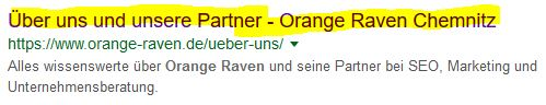 Meta Titel Serp Orange Raven