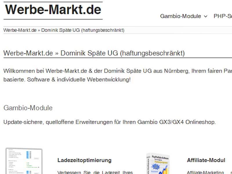 Dominik Späte Gambio und Wordpress Module
