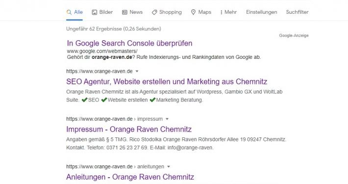 Übersicht Google Suchergebnisse - Wo ist die Meta Description